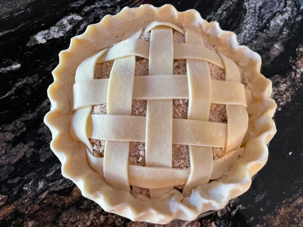 Finished Peach Plum Pie Lattice Crust Before Baking