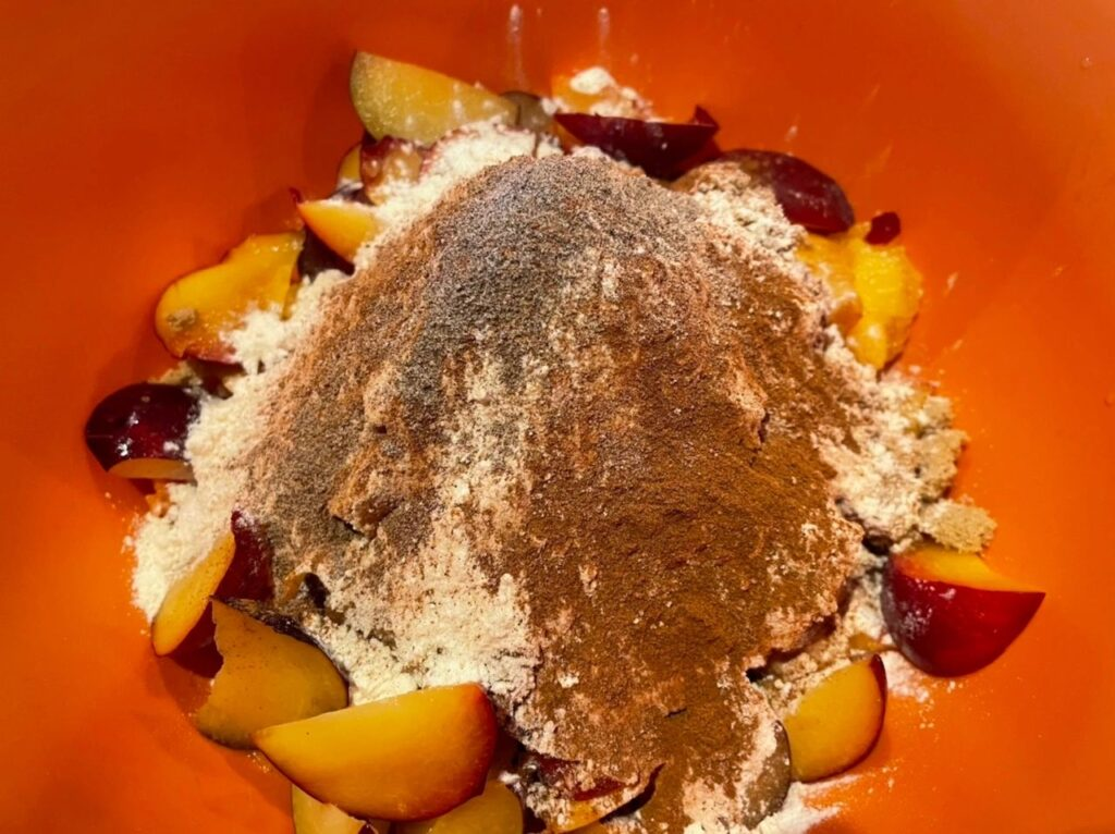Making Peach Plum Pie Filling
