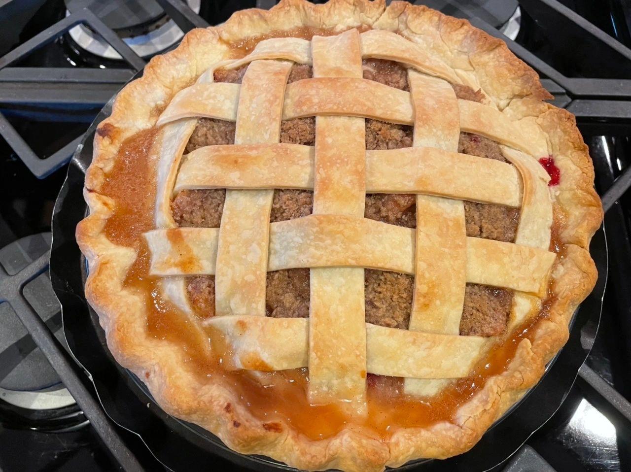 Peach Plum Crumb Pie with Lattice Crust