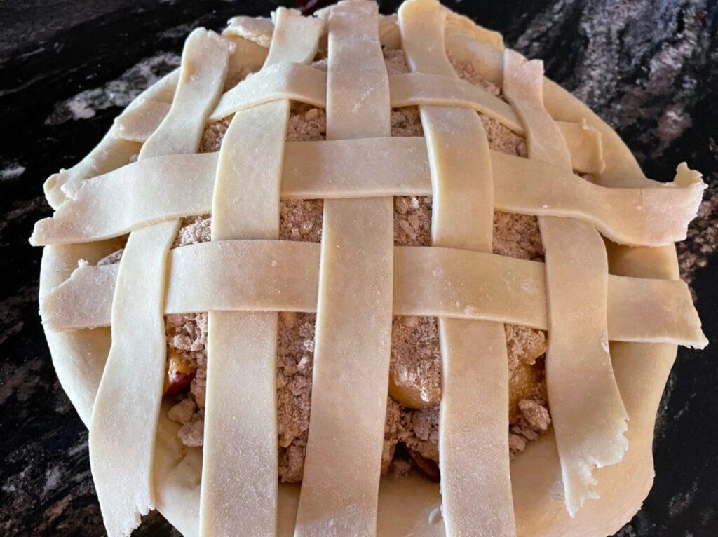 Weaving the Peach Plum Lattice Crust